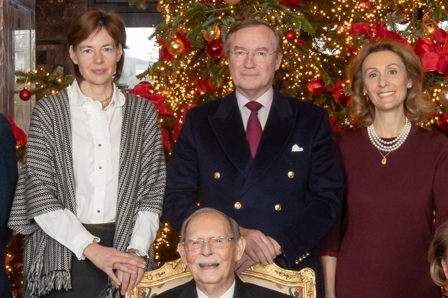 L'ancien grand-duc Jean de Luxembourg avec le prince Jean et les princesse Diane et Sibilla de Nassau, le 5 janvier 2019
