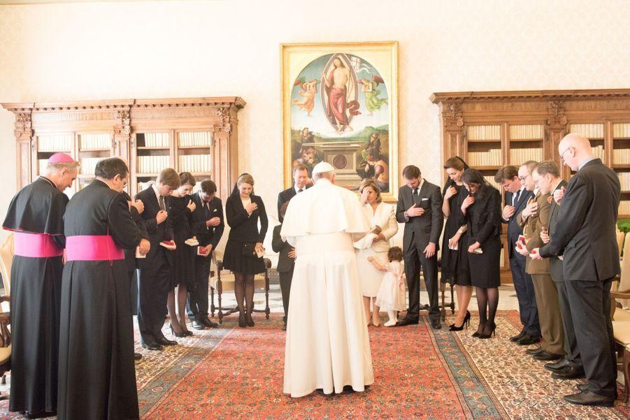 La famille du Grand-Duché rencontre le pape François