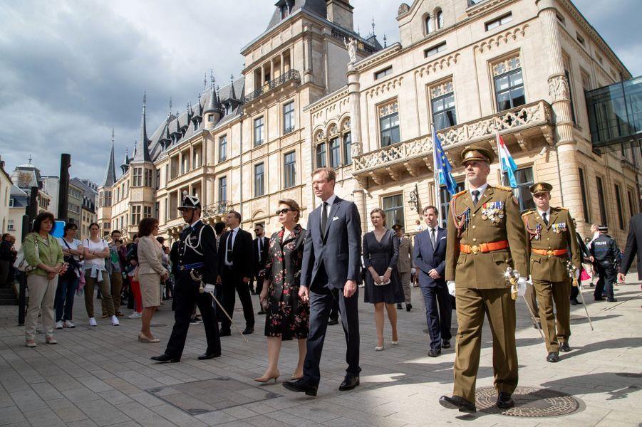 La grande-duchesse Maria Teresa et le grand-duc Henri de Luxembourg avec le prince Guillaume et la princesse Stéphanie à Luxembourg, le 26 mai 2019
