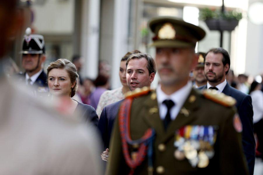 La princesse Stéphanie et les princes Guillaume et Félix de Luxembourg à Luxembourg, le 26 mai 2019