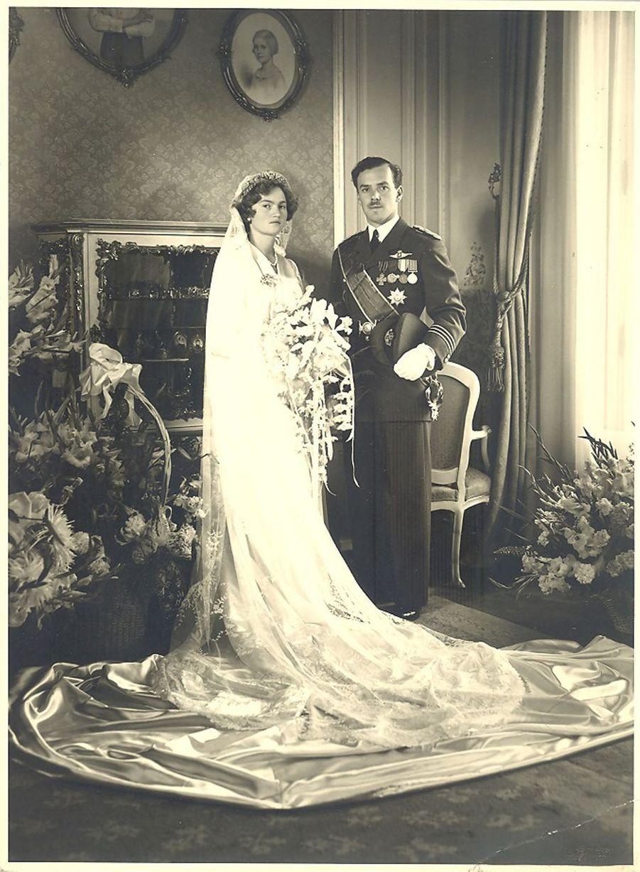 La princesse Alix de Luxembourg lors de son mariage avec le prince Antoine de Ligne, en 1950