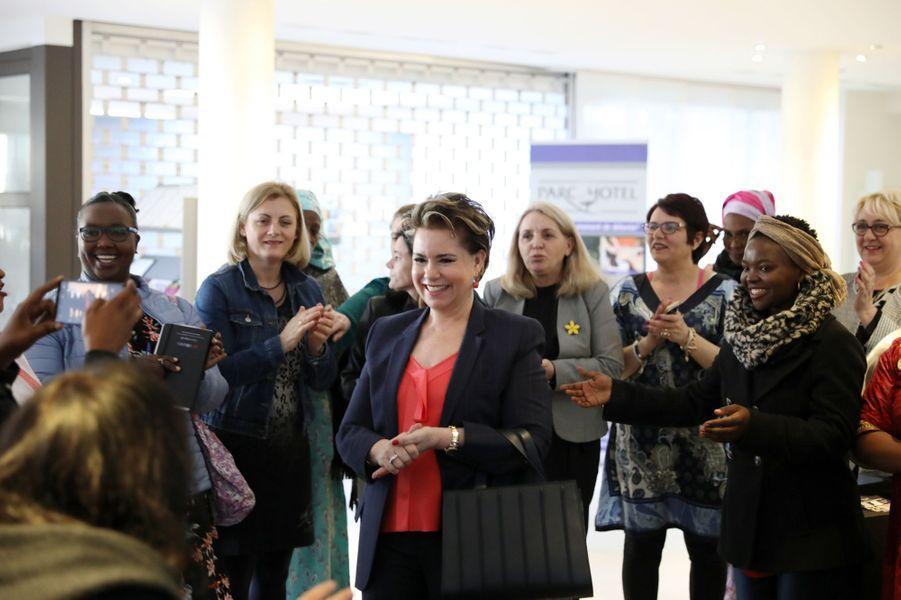 """La grande-duchesse Maria Teresa de Luxembourg accueille des """"survivantes"""" à Luxembourg, le 22 mars 2019"""