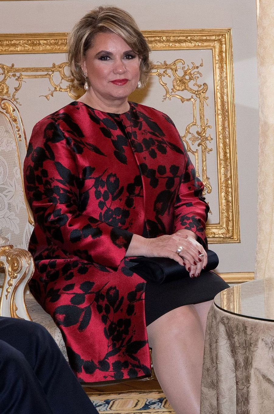 La grande-duchesse Maria Teresa de Luxembourg à l'Hôtel de Lassay à Paris, le 19 mars 2018