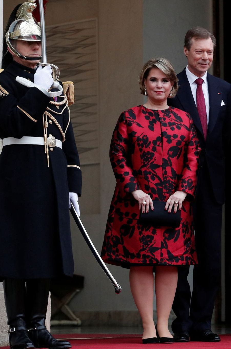 La grande-duchesse Maria Teresa de Luxembourg à l'Elysée à Paris, le 19 mars 2018