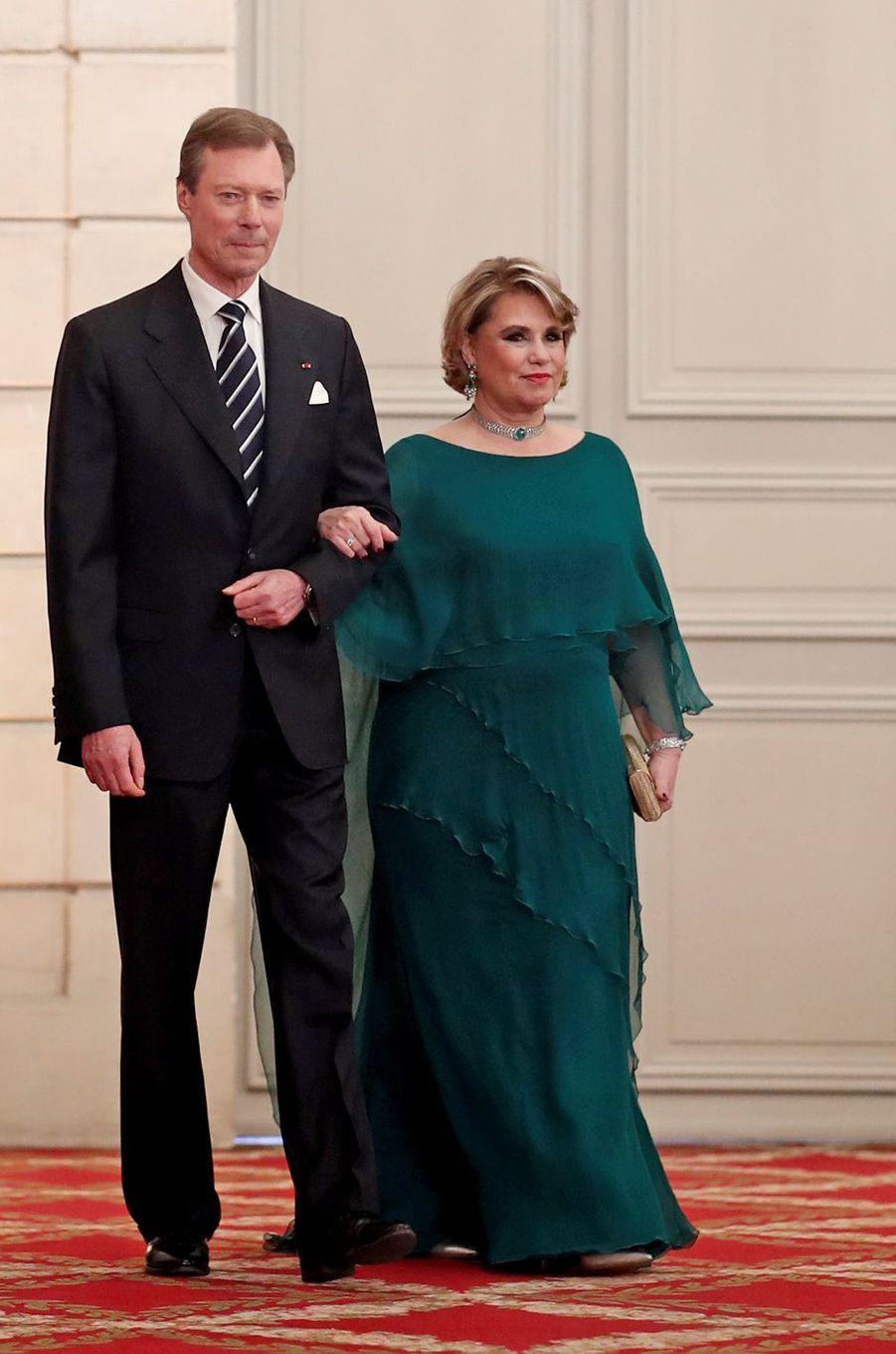 La grande-duchesse Maria Teresa et le grand-duc Henri de Luxembourg à Paris, le 19 mars 2018