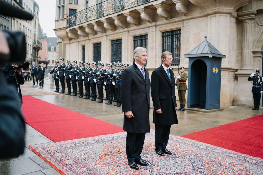 Le roi des Belges Philippe et le grand-duc Henri de Luxembourg à Luxembourg, le 15 octobre 2019