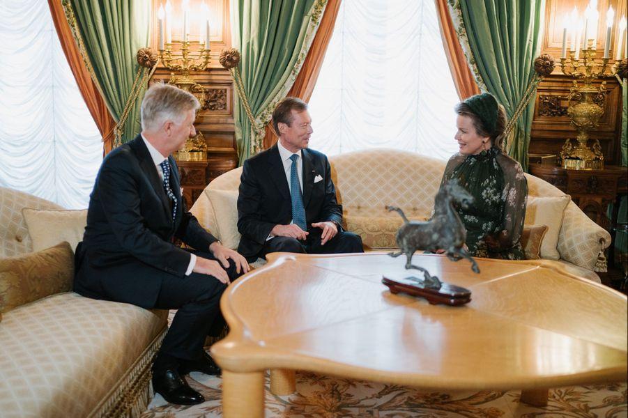 Le grand-duc Henri de Luxembourg en entrevue avec la reine Mathilde et le roi des Belges Philippe à Luxembourg, le 15 octobre 2019