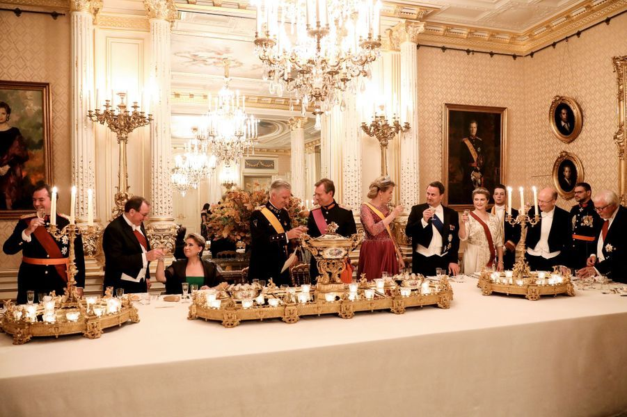 La banquet d'Etat offert par le grand-duc Henri et la grande-duchesse Maria Teresa de Luxembourg au roi des Belges Philippe et à la reine Mathilde à Luxembourg, le 15 octobre 2019