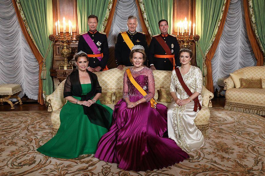 La grande-duchesse Maria Teresa et le grand-duc Henri de Luxembourg, la reine Mathilde et le roi des Belges Philippe, la princesse Stéphanie et le prince Guillaume de Luxembourg à Luxembourg, le 15 octobre 2019