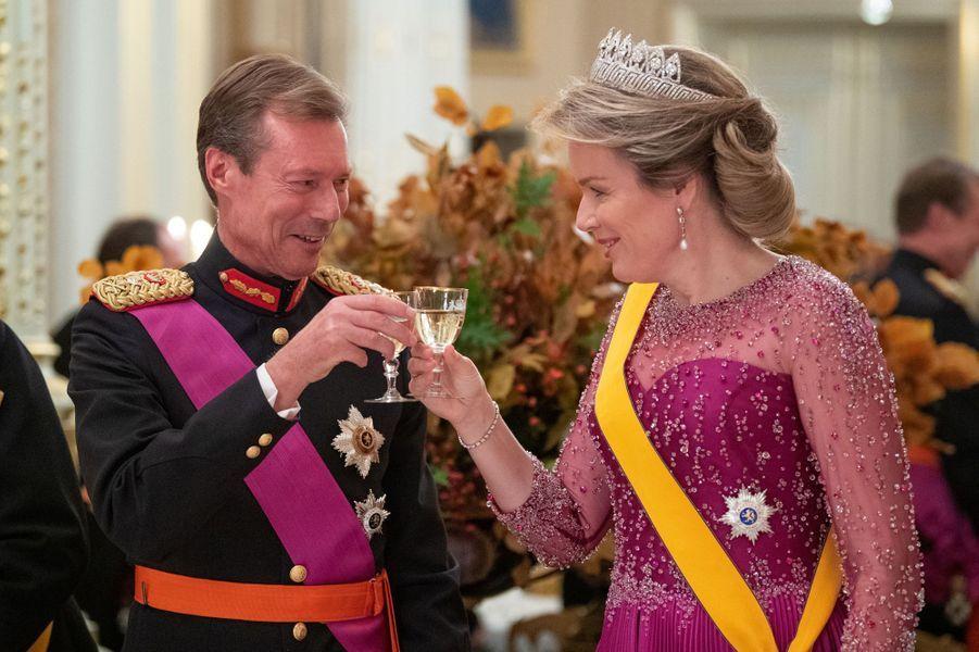 Le grand-duc Henri de Luxembourg et la reine des Belges Mathilde à Luxembourg, le 15 octobre 2019