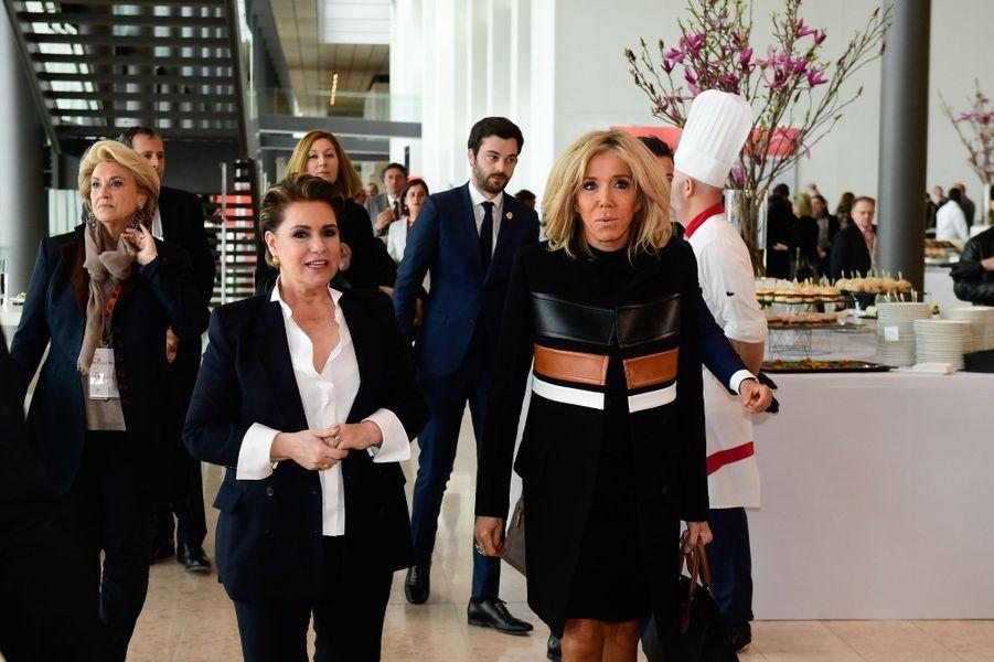 La grande-duchesse Maria Teresa de Luxembourg avec Brigitte Macron à Luxembourg, le 27 mars 2019