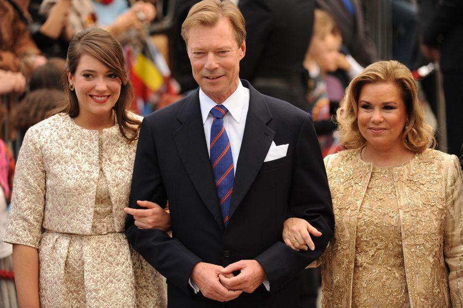 La princesse Alexandra de Luxembourg, avec ses parents, le 19 octobre 2012