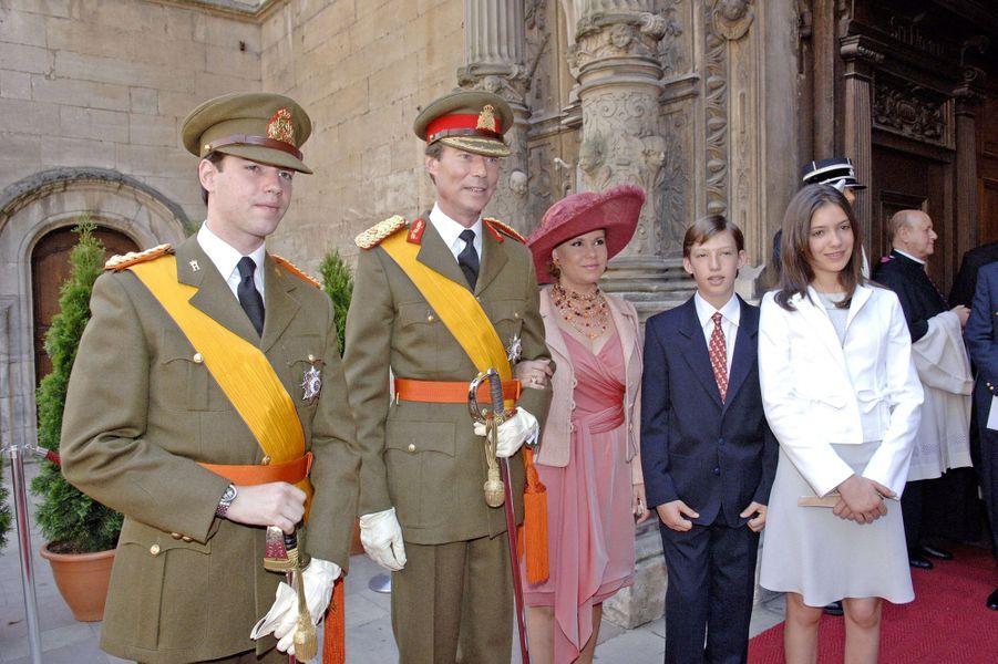 La princesse Alexandra de Luxembourg avec la famille grand-ducale, le 23 juin 2005