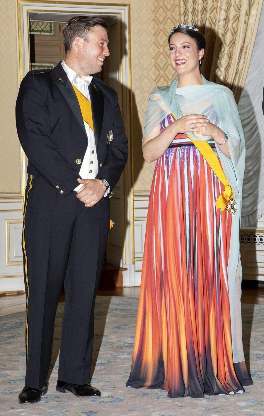 La princesse Alexandra de Luxembourg, avec son petit frère le prince Sébastien, le 23 juin 2018