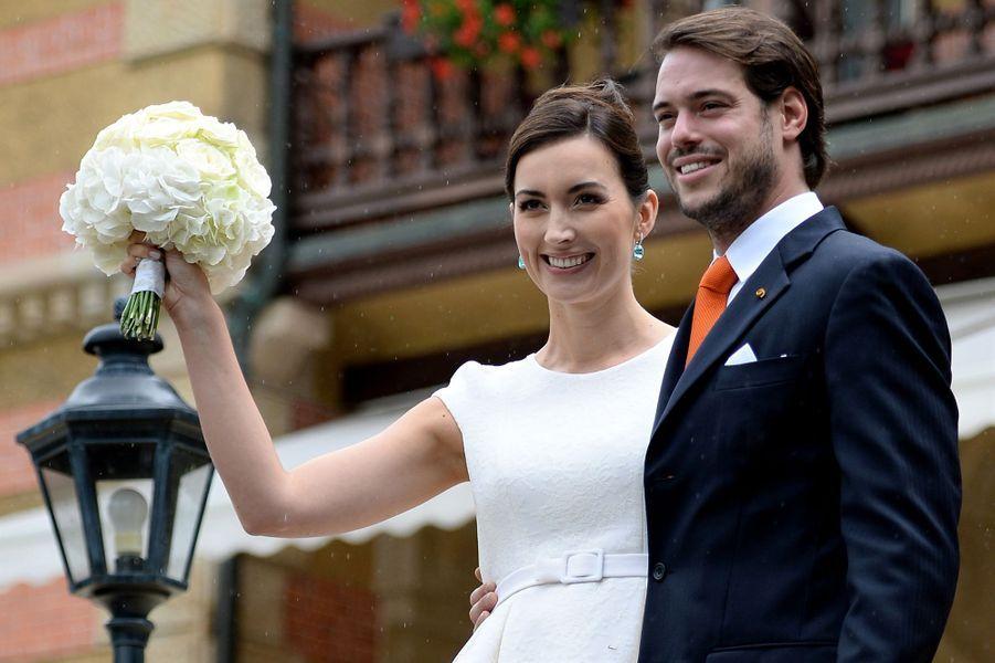Claire Lademacher avec le prince Félix de Luxembourg le 17 septembre 2013, jour de leur mariage civil