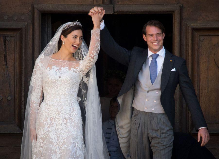 Claire Lademacher et le prince Félix de Luxembourg le 21 septembre 2013, jour de leur mariage religieux