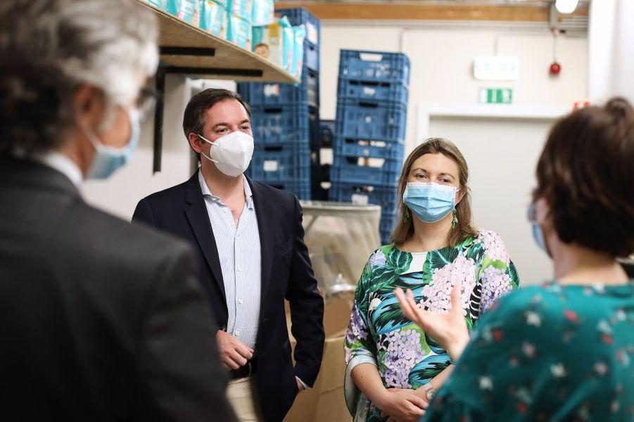 La princesse Stéphanie et le prince Guillaume de Luxembourg, le 1er juillet 2020 à Diekirch