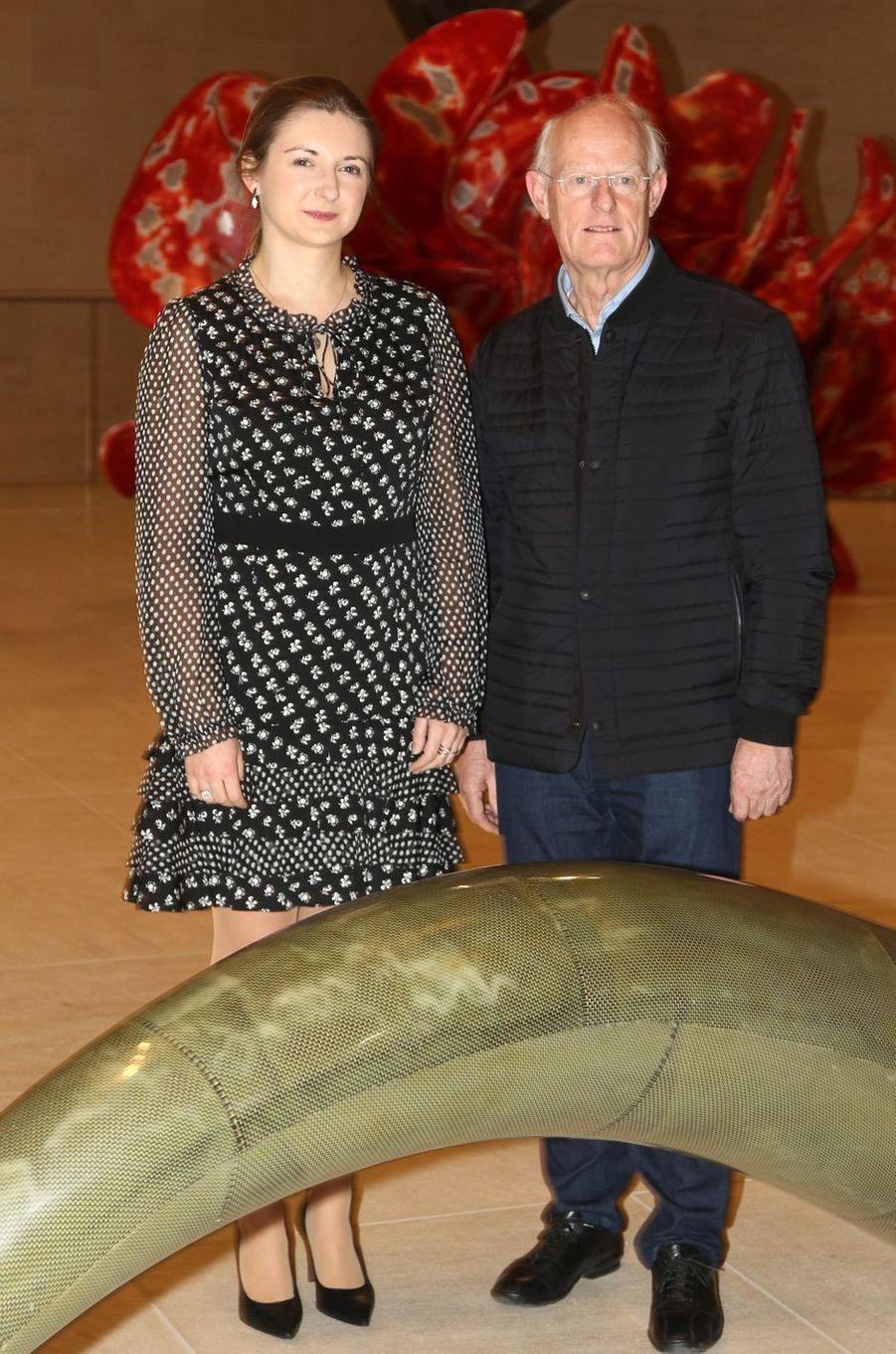La princesse Stéphanie de Luxembourg avecTony Gragg au Mudam à Luxembourg, le 9 février 2017