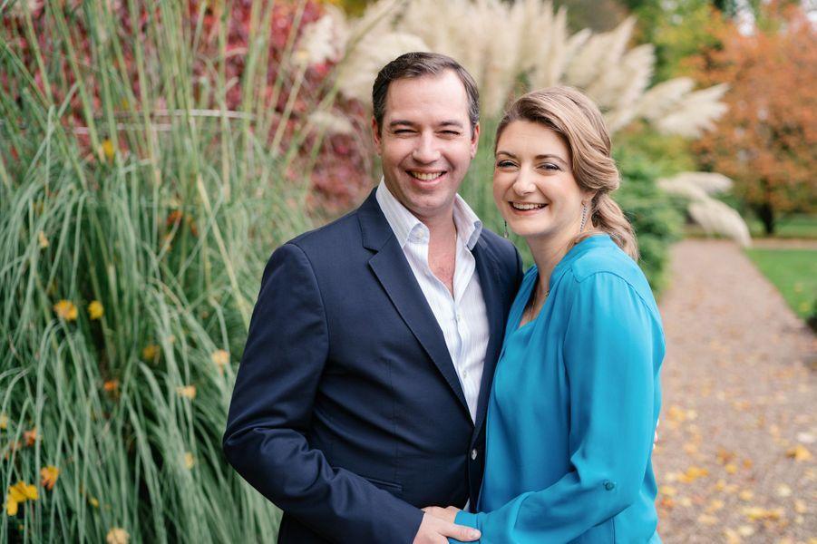 La grande-duchesse héritière Stéphanie, enceinte, et le le grand-duc héritier Guillaume de Luxembourg. Photo diffusée le 6 décembre 2019