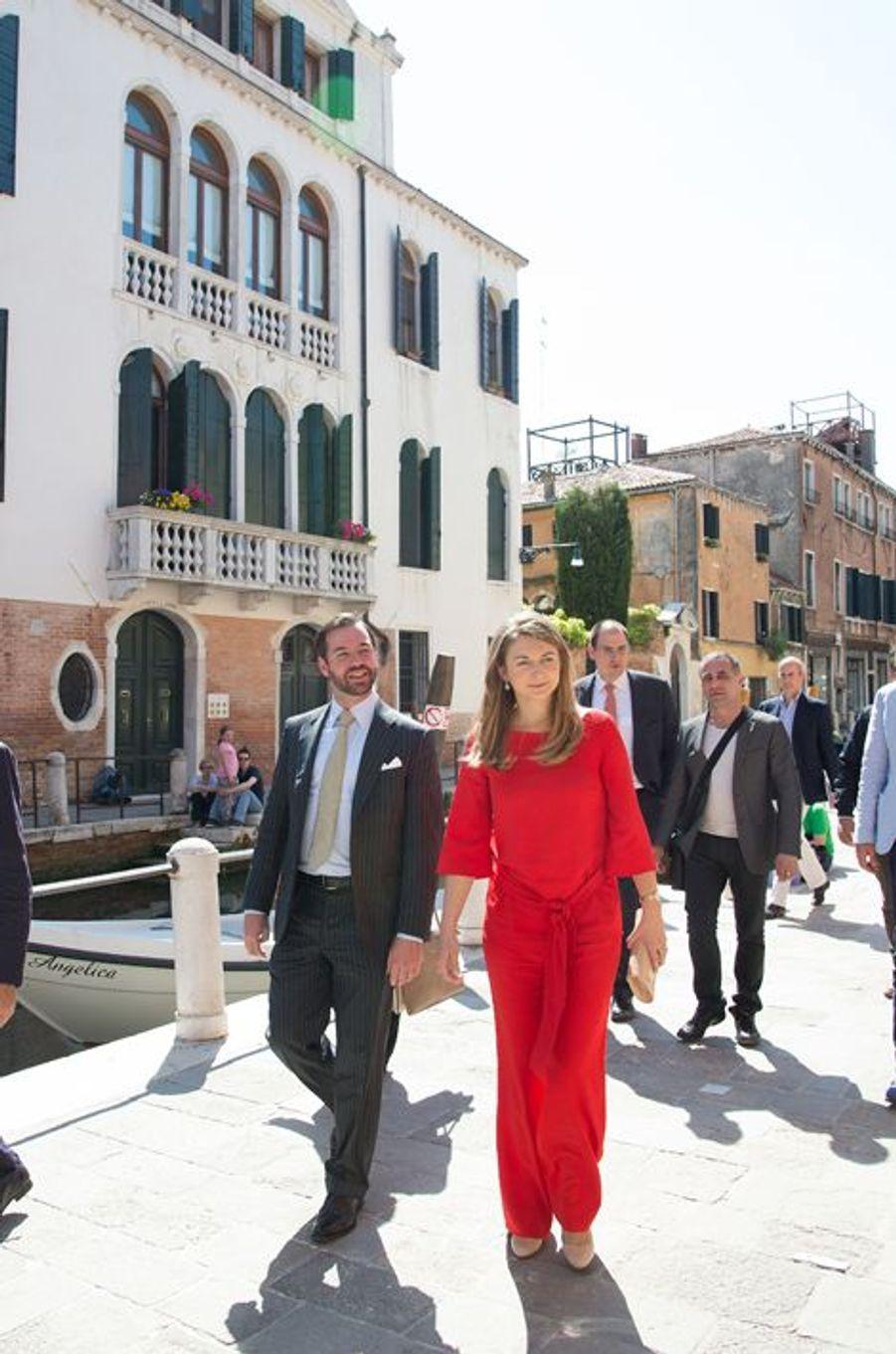 La princesse Stéphanie et le prince Guillaume de Luxembourg à Venise, le 7 mai 2015