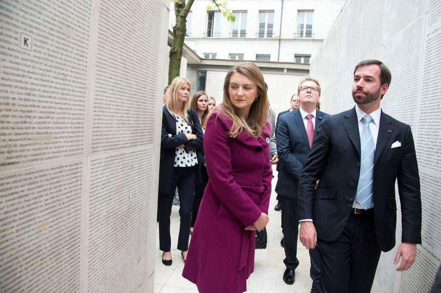 La princesse Stéphanie et le prince Guillaume de Luxembourg au Mémorial de la Shoah à Paris, le 8 mai 2015