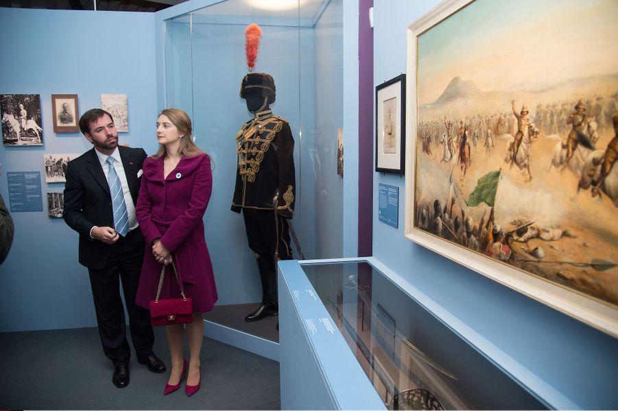 La princesse Stéphanie et le prince Guillaume de Luxembourg au Musée de l'Armée à Paris, le 8 mai 2015