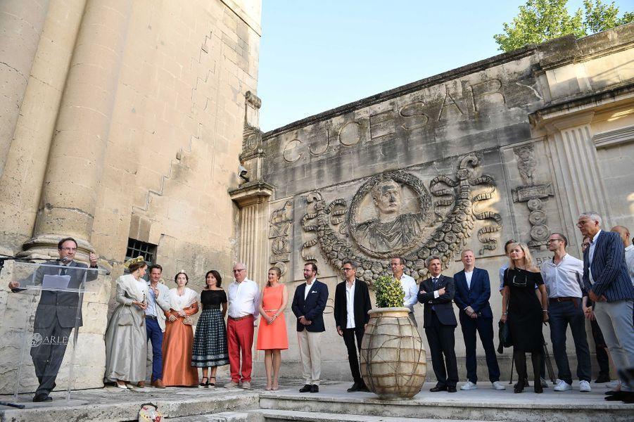 La princesse Stéphanie et le prince Guillaume de Luxembourg à Arles, le 7 juillet 2017