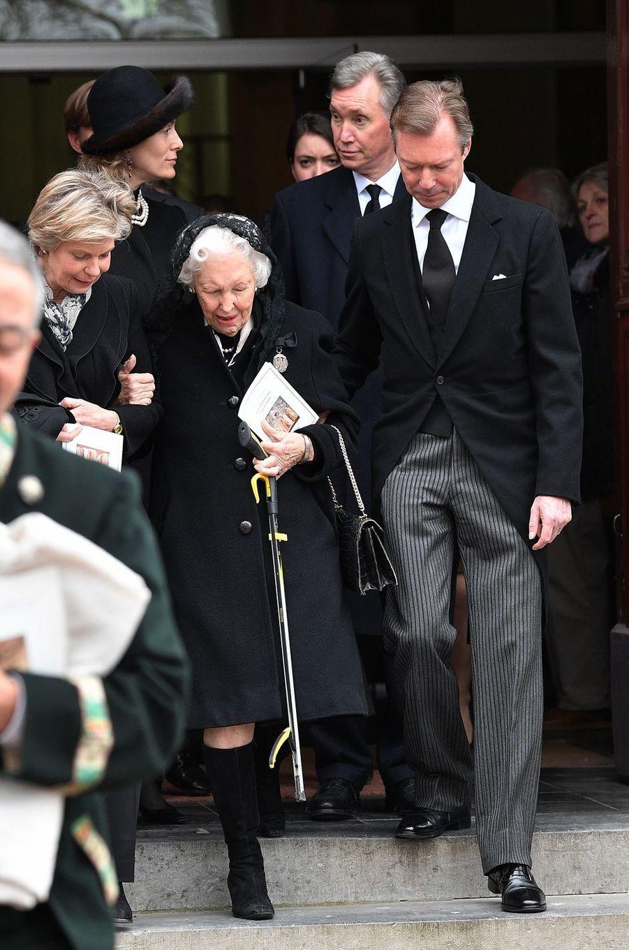 Le grand-duc Henri de Luxembourg avec sa soeur la princesse Marie-Astrid et l'archiduchesse Yolande d'Autriche à Anvaing, le 16 janvier 2019