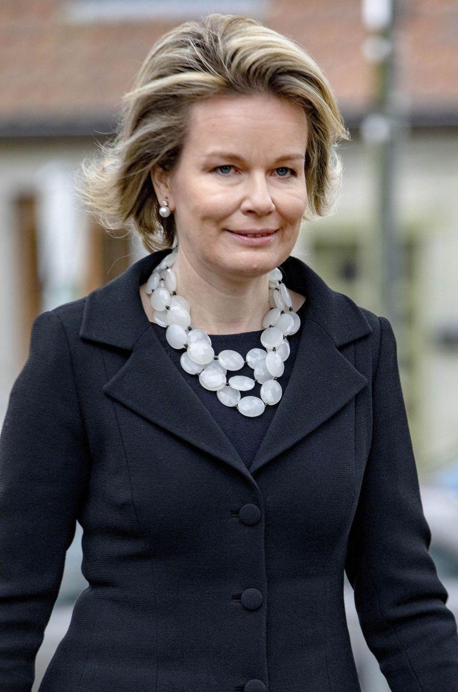 La reine des Belges Mathilde à Anvaing, le 16 janvier 2019