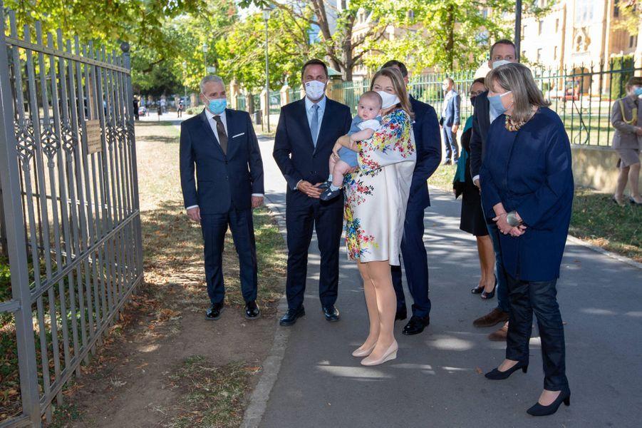 Le prince Charles de Luxembourg avec le grand-duc héritier Guillaume et la princesse Stéphanie, Xavier Bettel, Dan Kersch, Lydie Polfer et Serge Wilmes à Luxembourg, le 21 septembre 2020