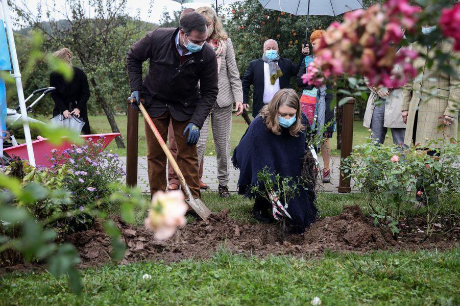 La princesse Stéphanie et le prince héritier Guillaume de Luxembourg, à Schuttrange le 5 octobre 2020