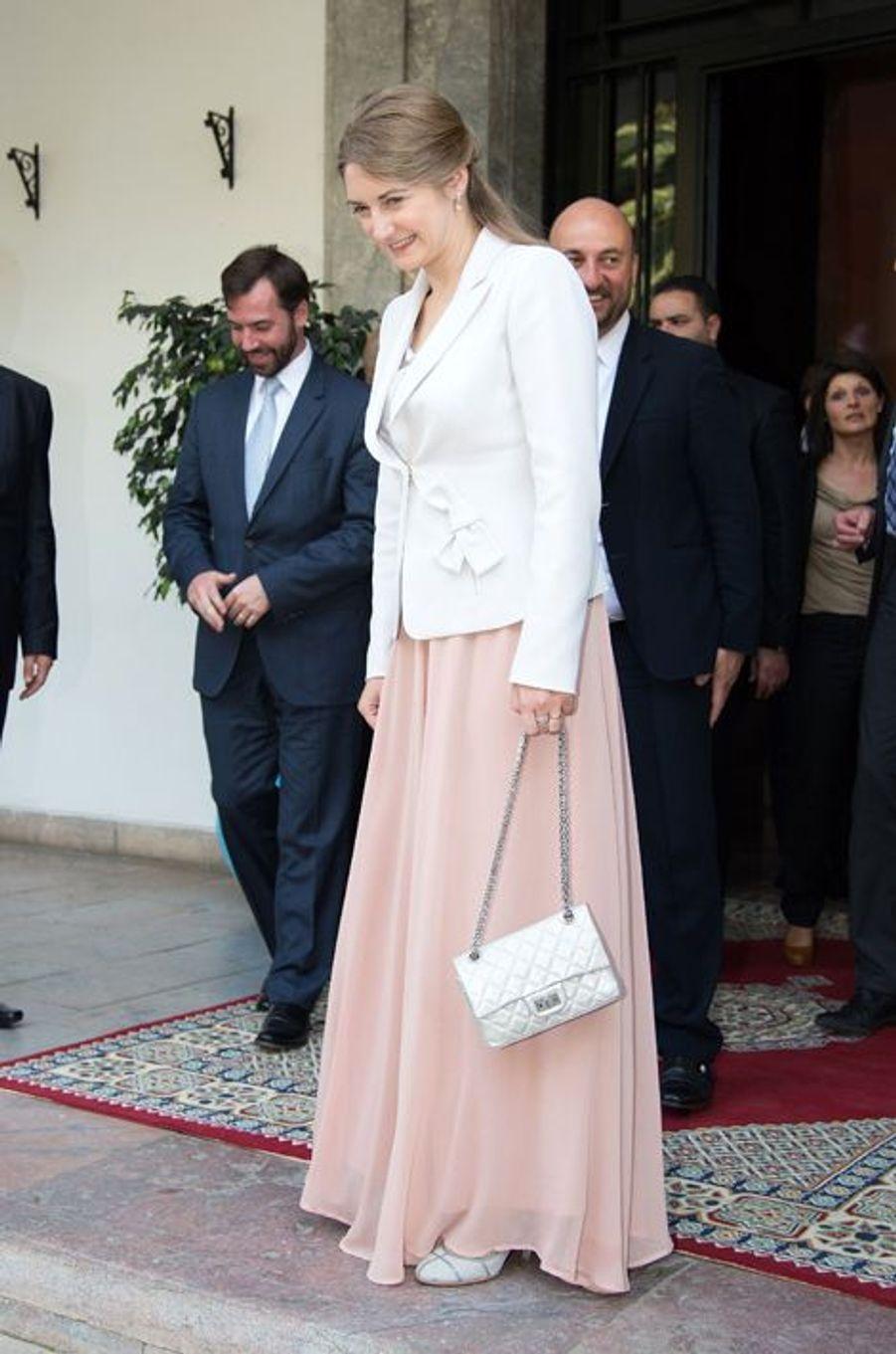 La princesse Stéphanie et le prince Guillaume de Luxembourg à Rabat, le 27 avril 2015