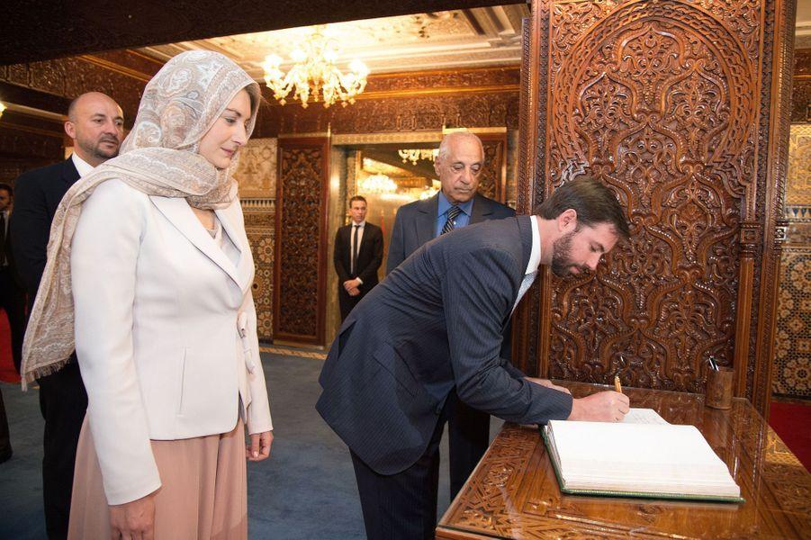 La princesse Stéphanie et le prince Guillaume de Luxembourg au Mausolée Mohammed V à Rabat, le 27 avril 2015