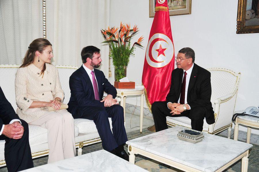 La princesse Stéphanie et le prince Guillaume de Luxembourg avec Habib Essid à Tunis, le 29 avril 2015