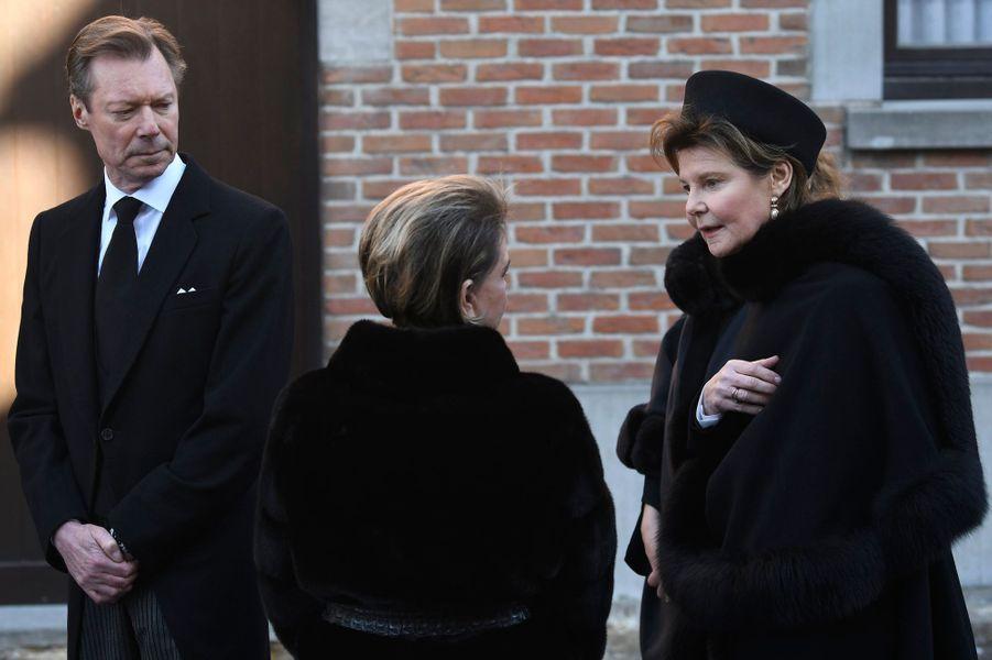 Le grand-duc Henri de Luxembourg avec sa femme la grande-duchesse Maria Teresa et sa soeur la princesseMargaretha de Liechtenstein, à Beloeil le 16 février 2019