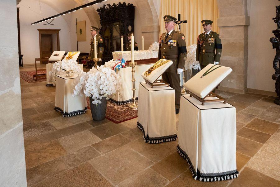 La chapelle ardente de l'ex-grand-duc Jean de Luxembourg au Palais grand-ducal à Luxembourg, le 29 avril 2019