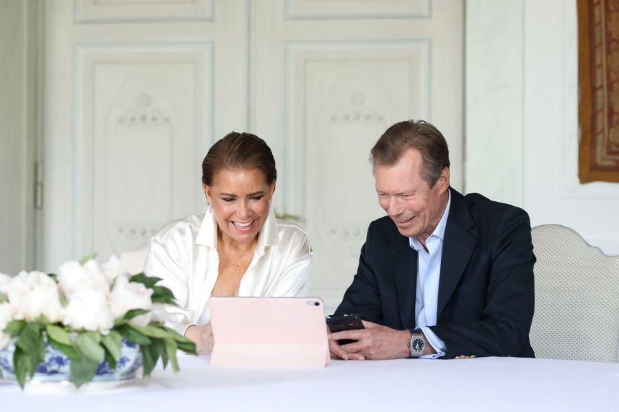 La grande-duchesse Maria Teresa et le grand-duc Henri de Luxembourg, le 10 mai 2020