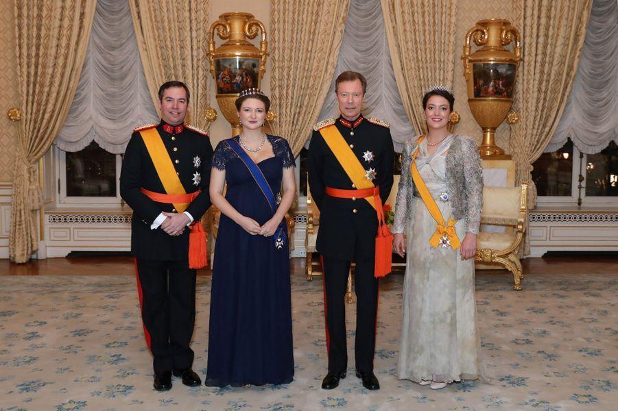 Le prince Guillaume, la princesse Stéphanie, le grand-duc Henri de Luxembourg et la princesse Alexandra à Luxembourg, le 16 janvier 2019