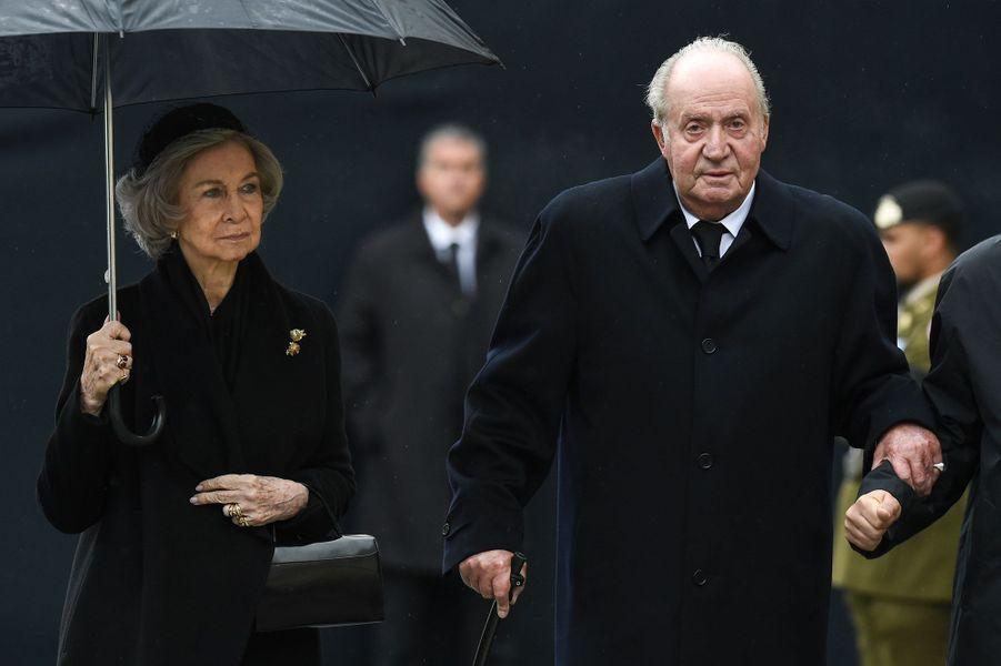 Juan Carlos et Sofia d'Espagne, à Luxembourg, samedi, lors des obsèques du Grand-Duc Jean.