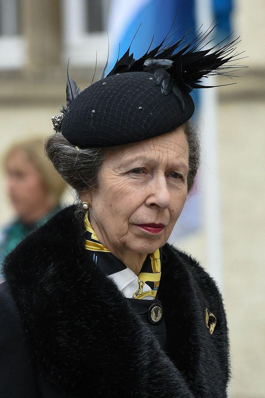La princesse Anne, fille de la reine du Royaume-Uni Elizabeth II, à Luxembourg, samedi, lors des obsèques du Grand-Duc Jean.