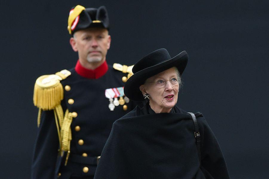 Margrethe II du Danemark, à Luxembourg, samedi, lors des obsèques du Grand-Duc Jean.