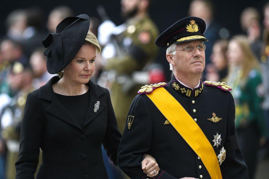 Mathilde et Philippe de Belgique, à Luxembourg, samedi, lors des obsèques du Grand-Duc Jean.