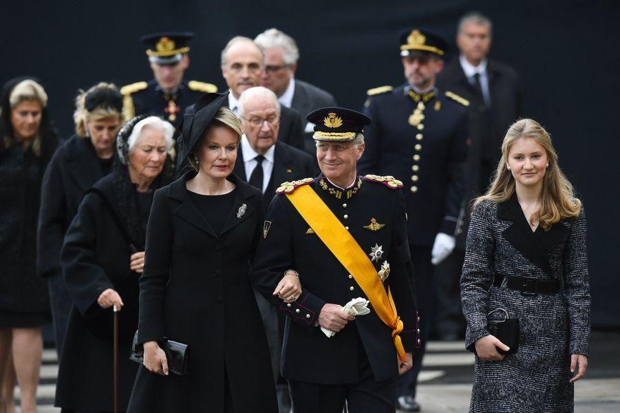 Mathilde et Philippe de Belgique, ainsi que la princesse héritière Elisabeth,à Luxembourg, samedi, lors des obsèques du Grand-Duc Jean.