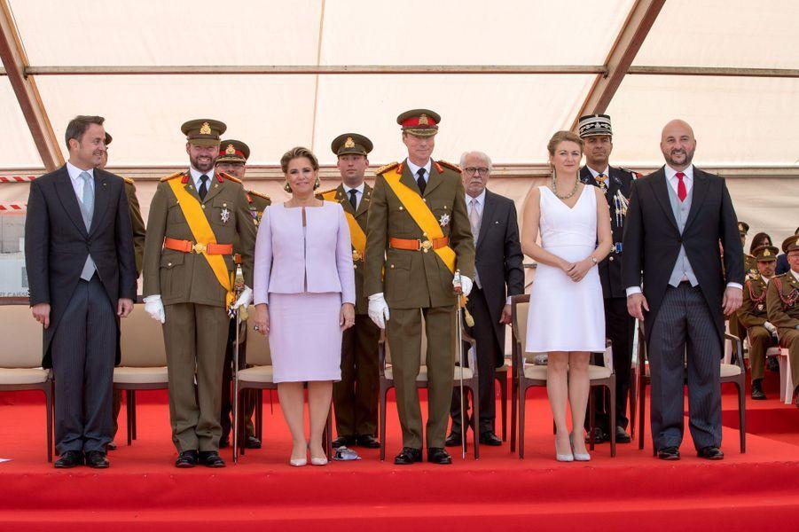 Le grand-duc Henri et la grande-duchesse Maria Teresa de Luxembourg avec le prince héritier Guillaume et la princesse Stéphanie à Luxembourg, le 23 juin 2018