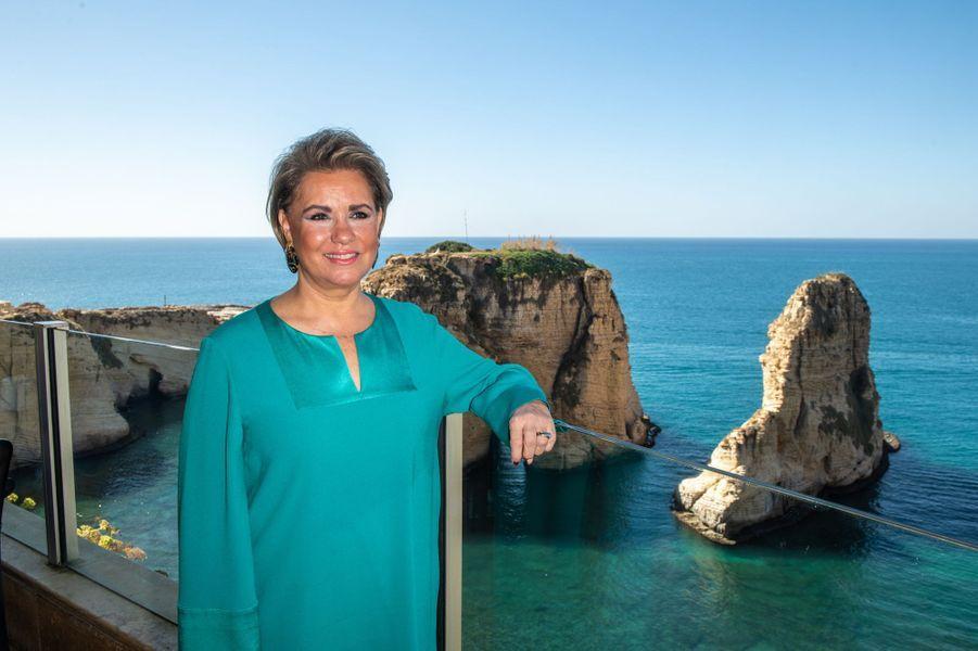 """La grande-duchesse Maria Teresa de Luxembourg sur le site de la """"Grotte aux pigeons"""" à Beyrouth au Liban, le 29 octobre 2018"""