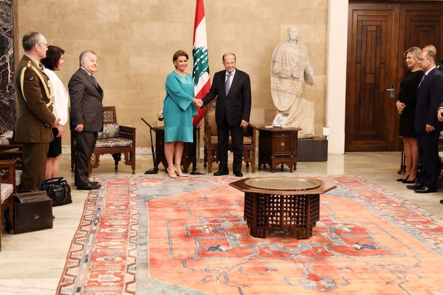 La grande-duchesse Maria Teresa de Luxembourg avec le président du Liban, à Beyrouth le 29 octobre 2018