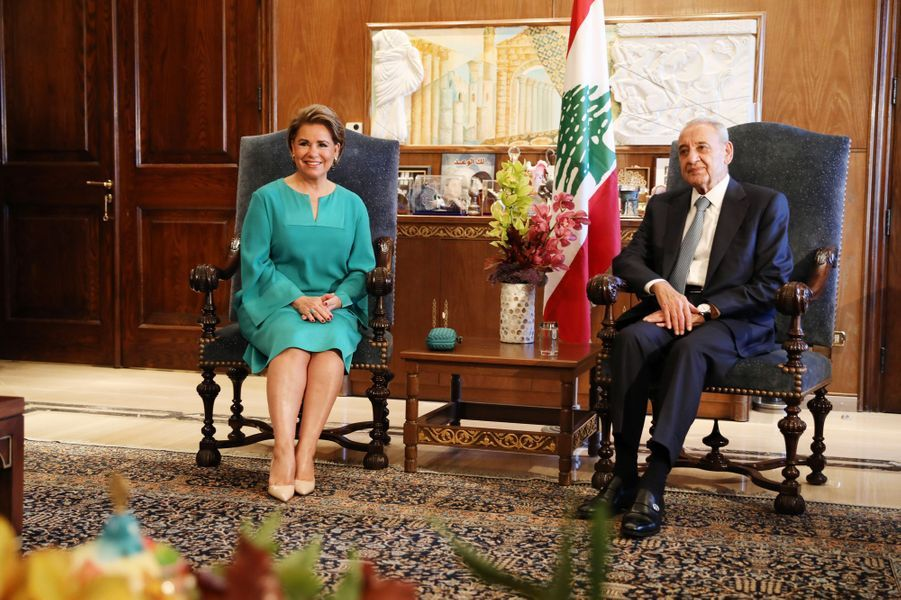 La grande-duchesse Maria Teresa de Luxembourg avec le président du Parlement libanais, à Beyrouth le 29 octobre 2018