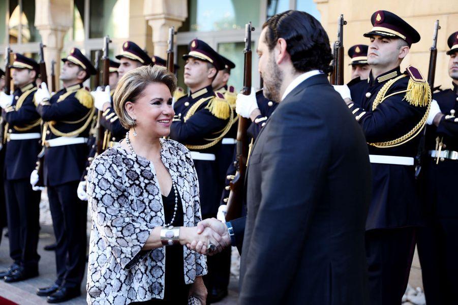 La grande-duchesse Maria Teresa de Luxembourg avec le Premier ministre libanais, à Beyrouth le 29 octobre 2018