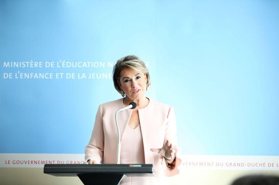 La grande-duchesse Maria Teresa de Luxembourg lors de l'inauguration d'un centre d'apprentissage à son nom à Luxembourg, le 24 septembre 2018