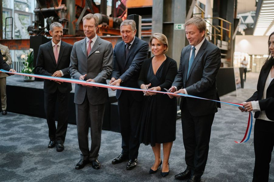 """La grande-duchesse Maria Teresa et le grand-duc Henri de Luxembourg inaugure la """"Maison du Livre"""" à Luxembourg, le 24 septembre 2018"""